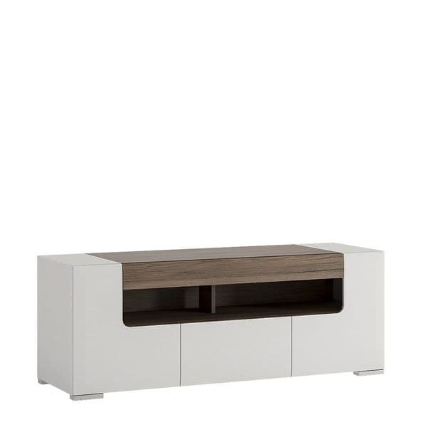 Calvino Display Cabinet in High Gloss White & Walnut - furniturefactor.co.uk